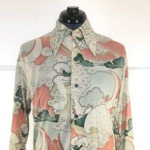 Vintage 70's Disco Shirt, Large Collar Button Up